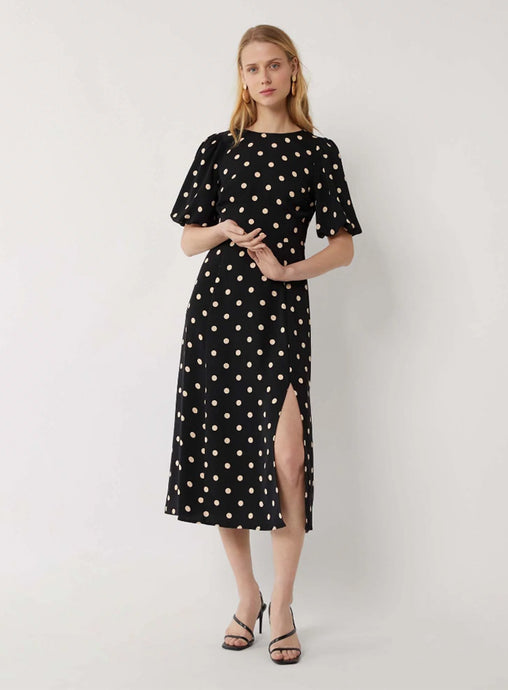 Ex Warehouse Spot Puff Sleeve Midi Dress Black