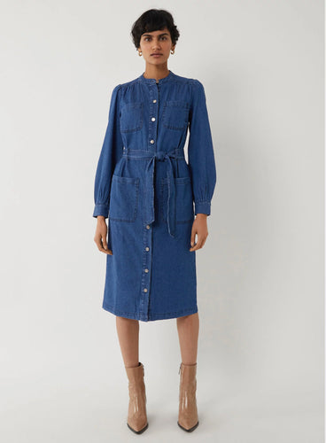 Ex Warehouse Grandad Collar Long Sleeve Denim Dress