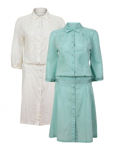 Ex Whistles Mint / Ivory Embroidered Belted Vintage Shirt Tea Dress