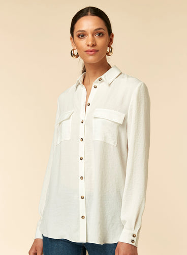 Ex Wallis Ivory Linen Look Shirt