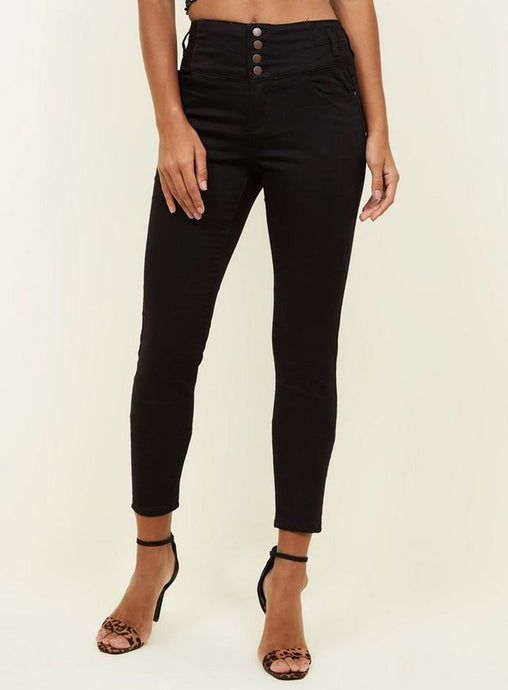 Ex Chainstore Yazmin Black 4 Button High waist skinny Jeans
