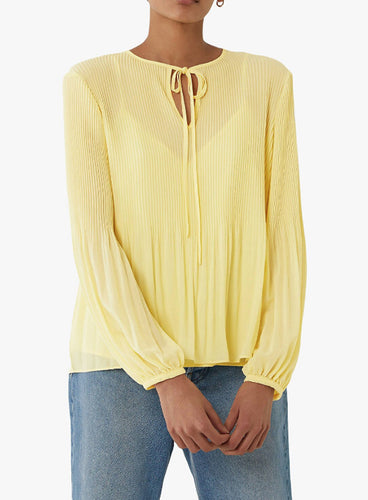 Ex Warehouse Micro Pleat Tie Neck Top Lemon