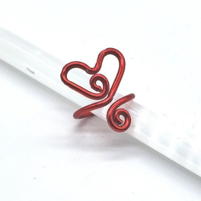 Adjustable Red Wire Heart Ring with Spiral