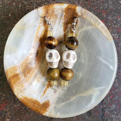 Skull Earrings with Tiger's Eye