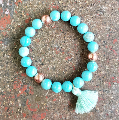 Copper and Turquoise Mala Bracelet with Tassel by Local Artist