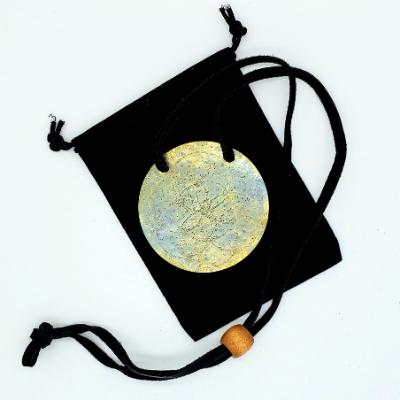 Gong Adornment Necklace - Bronze with Black Leather Cord