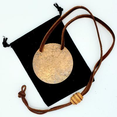 Gong Adornment Necklace - Copper with Brown Leather Cord