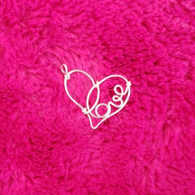 "Silver Wire Heart ""Love"" Pendant"