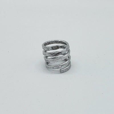 Adjustable Silver Spiral Ring