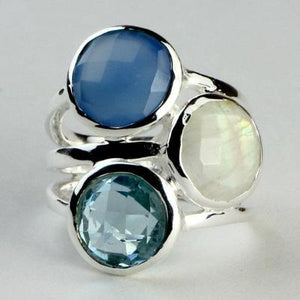 Chalcedony, Blue Topaz and Moonstone Multi Ring - Size 6