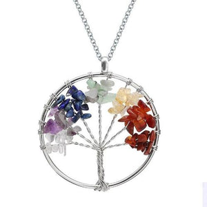 7 Chakra Tree of Life Natural Stone Necklace