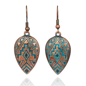 Antique Copper Rain Drop Earrings