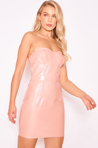 Pink Snakeskin Bustier Dress
