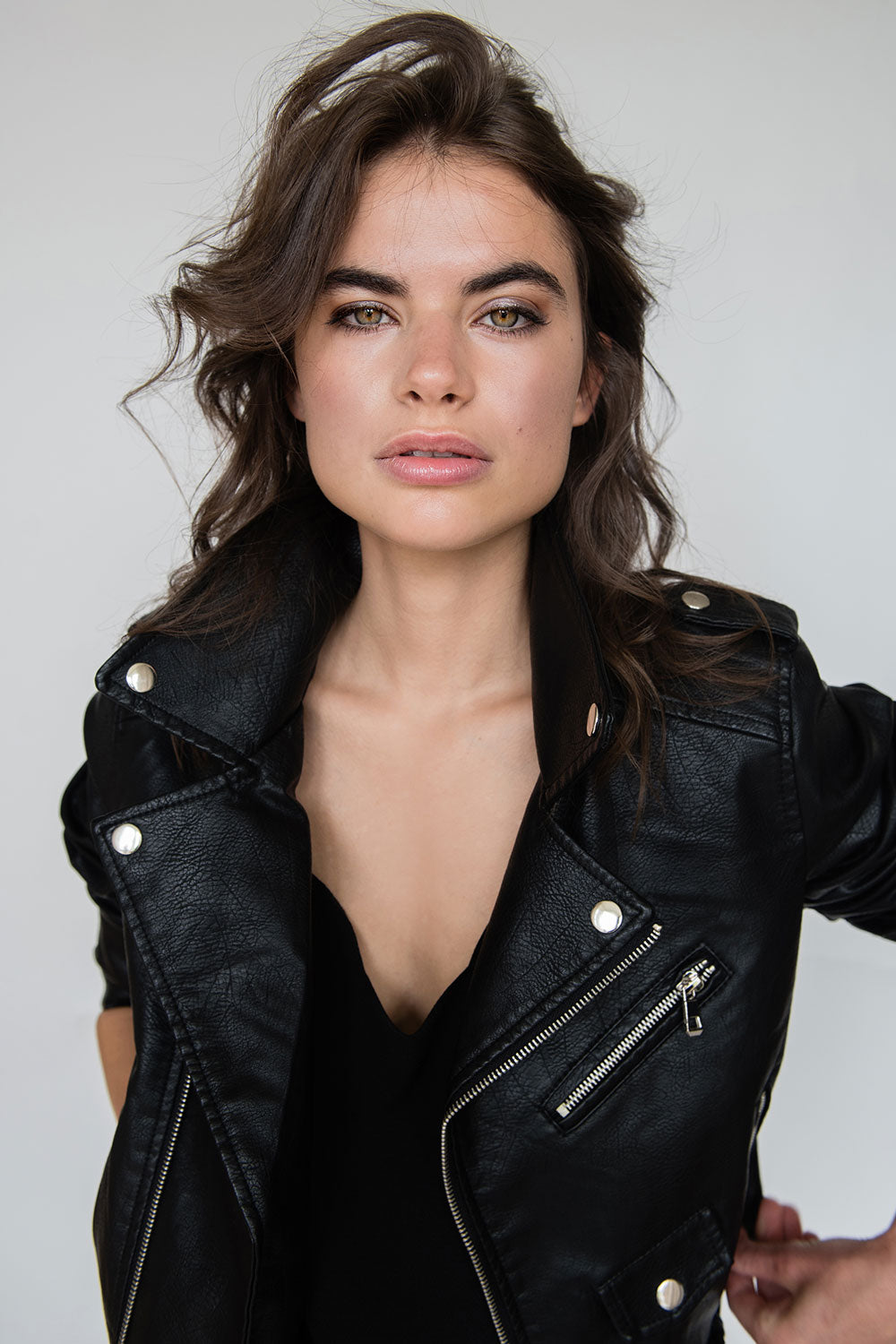 Faith Faux Leather Biker Jacket in Black