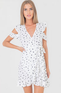Lola White Polka Dot Frill Dress
