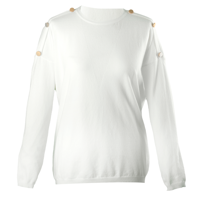 Emilia Gold Button Sleeve Jumper in Cream