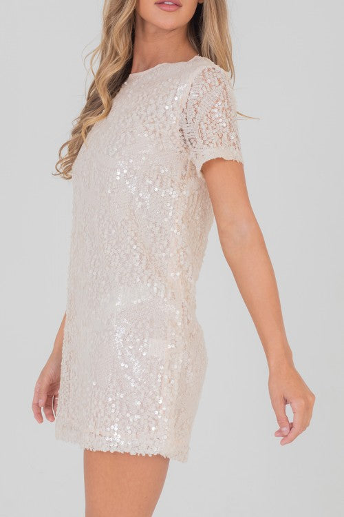 Carly Cream Sequin Dress