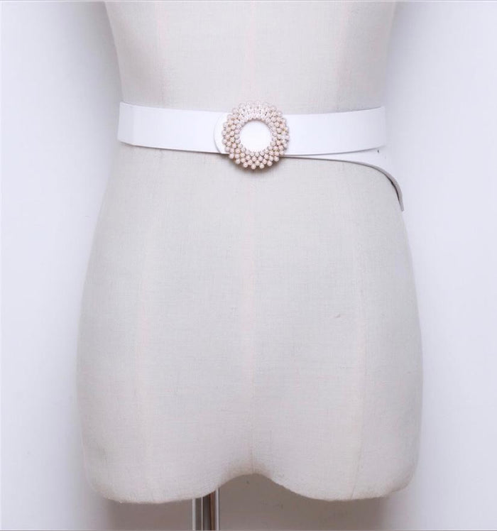 White Leather & Pearl Belt