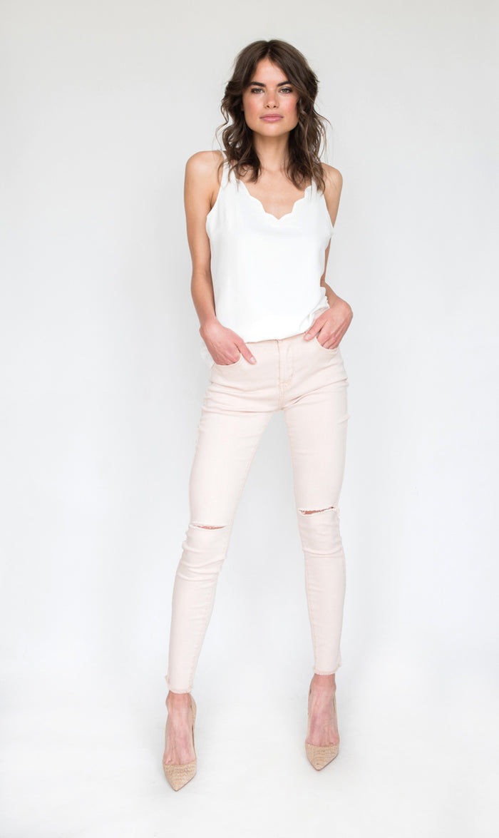 Mila Ripped Knee Skinny Jeans in Nude Pink