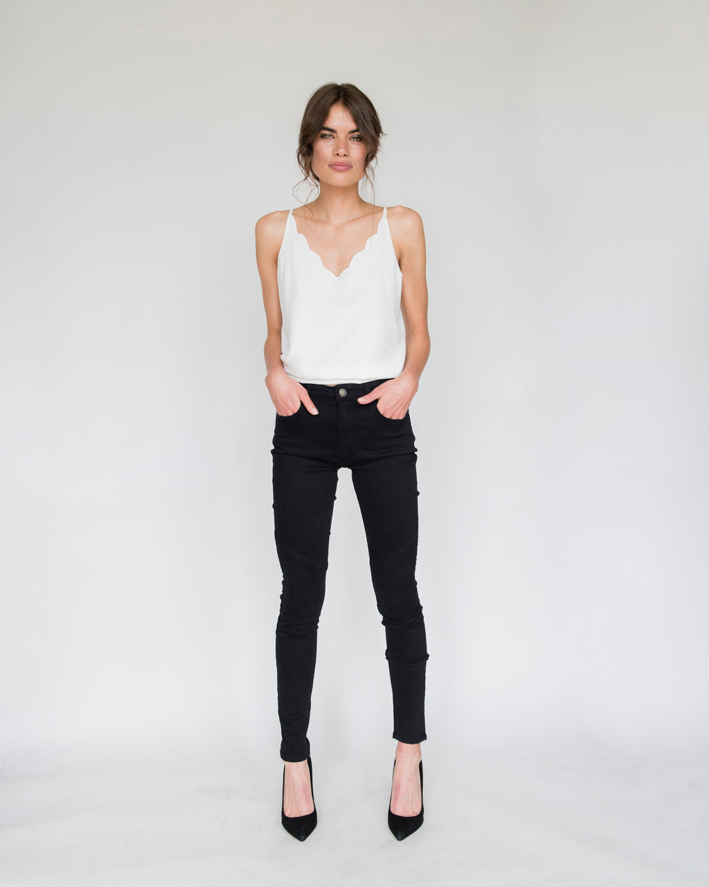 Billie Biker Style Skinny Jeans in Black