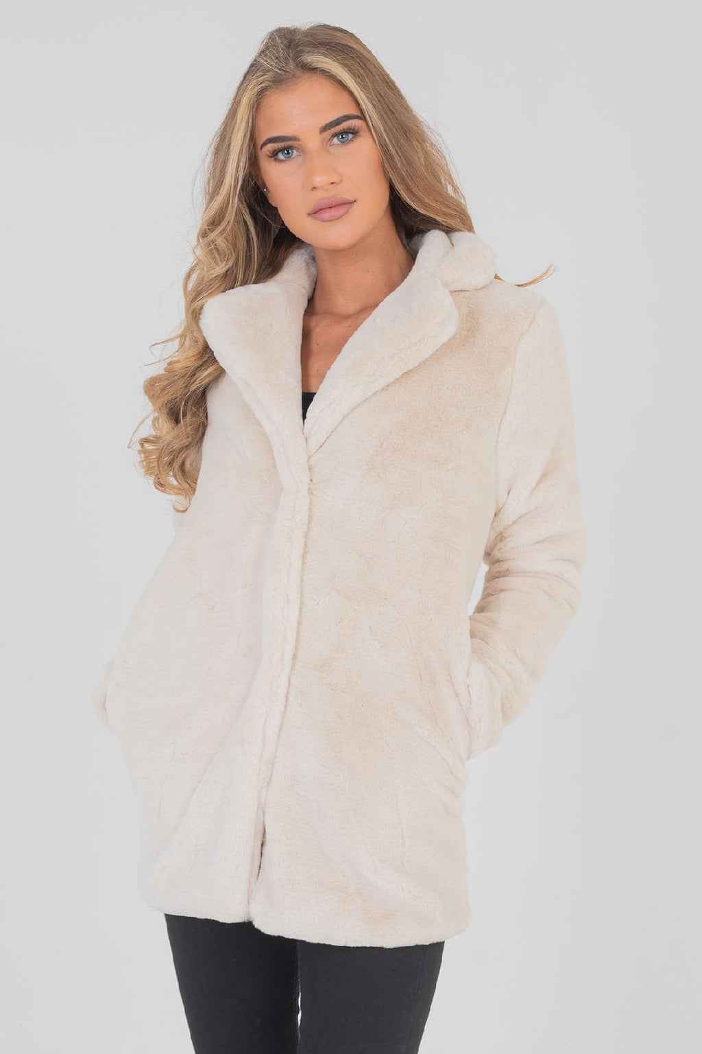 Celine Cream Faux Fur Coat