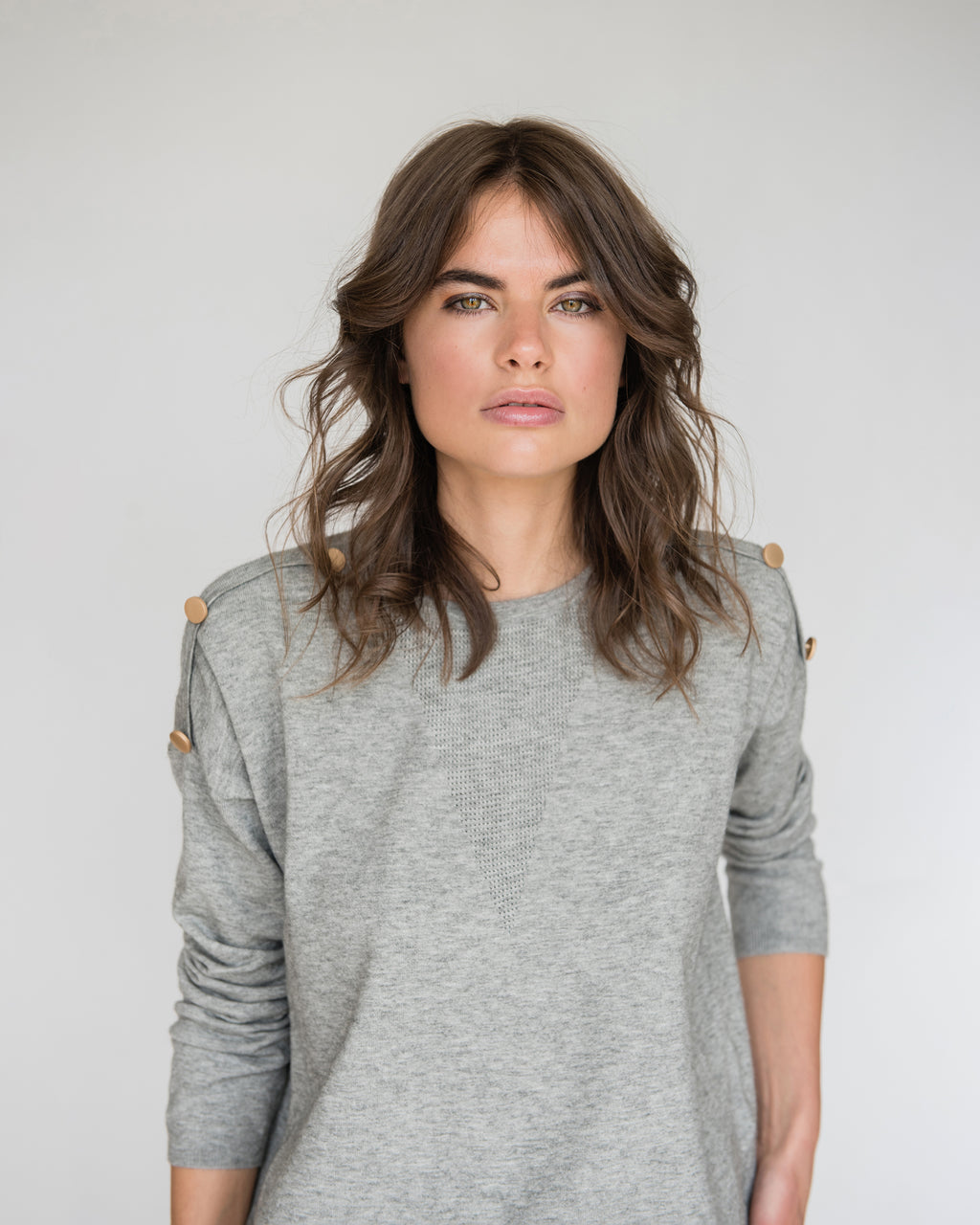 Emilia Gold Buttoned Sleeve Jumper in Grey