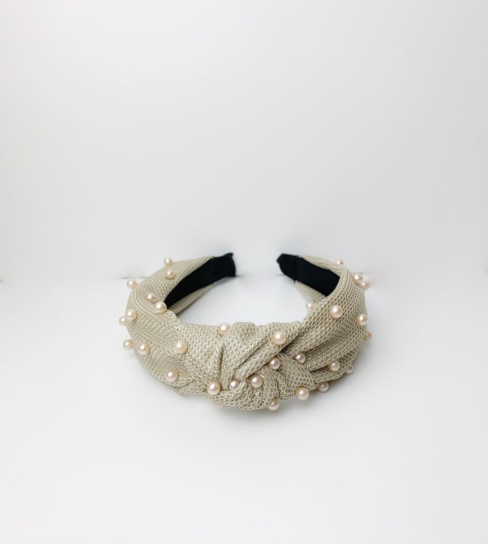 Pearl Knot Hair Band | Nude