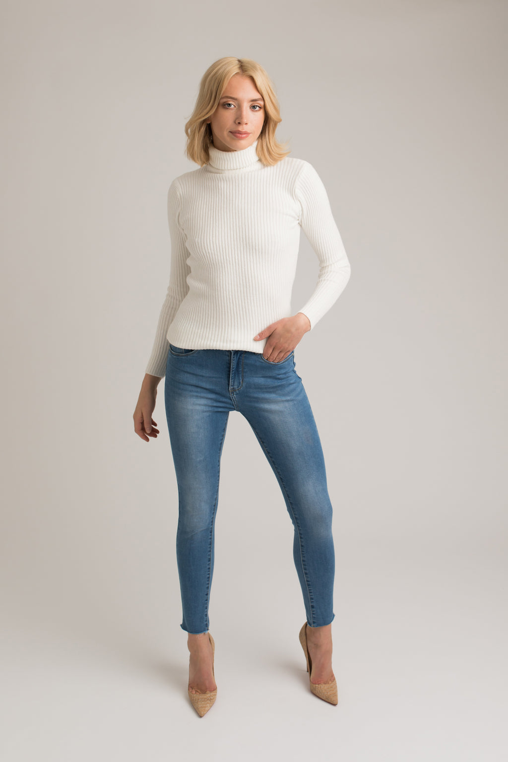 Cara Cream Roll Neck Knit