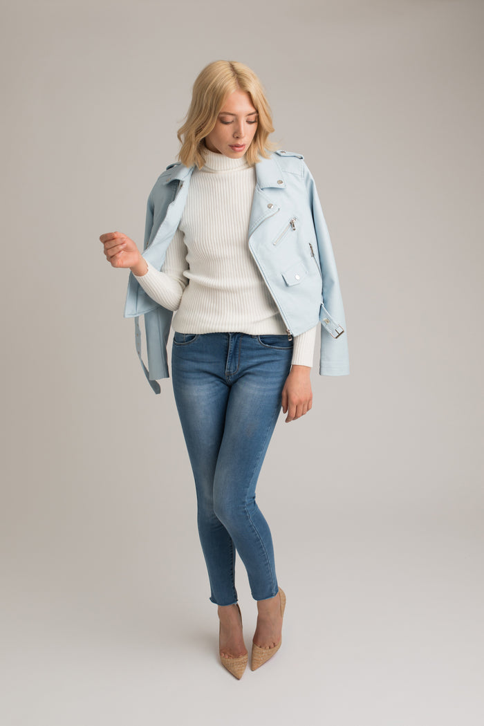 Faith Faux Leather Biker Jacket in Baby Blue