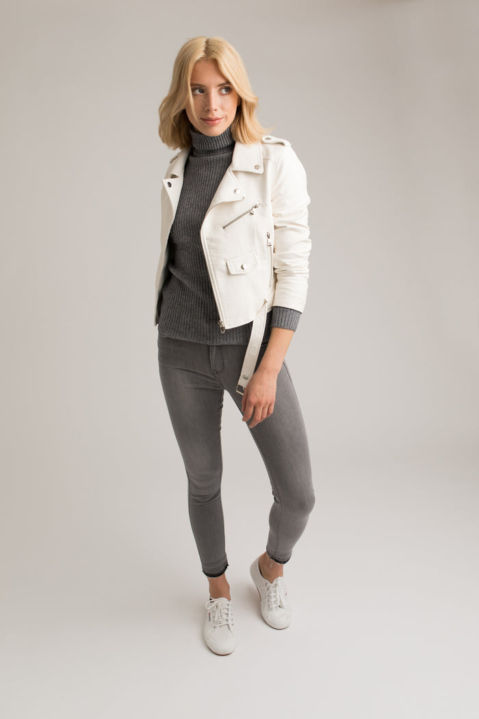 Faith Faux Leather Biker Jacket in White