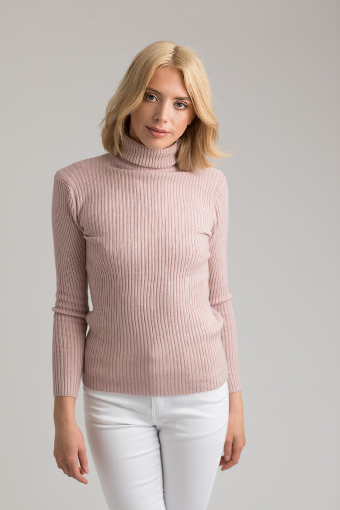 Cara Blush Pink Roll Neck Knit