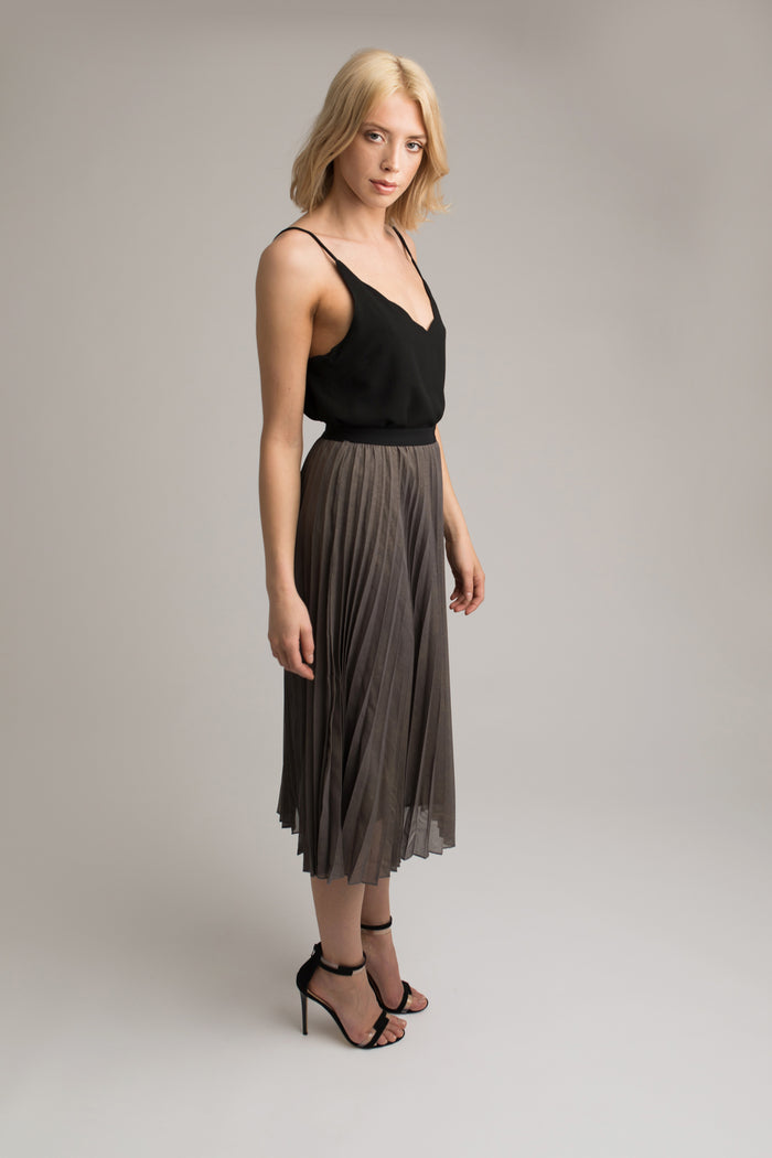 Meghan Taupe Pleated Skirt