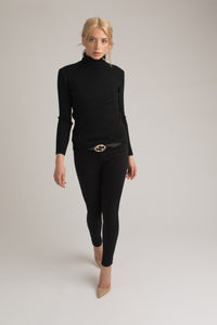 Cara Black Roll Neck Knit
