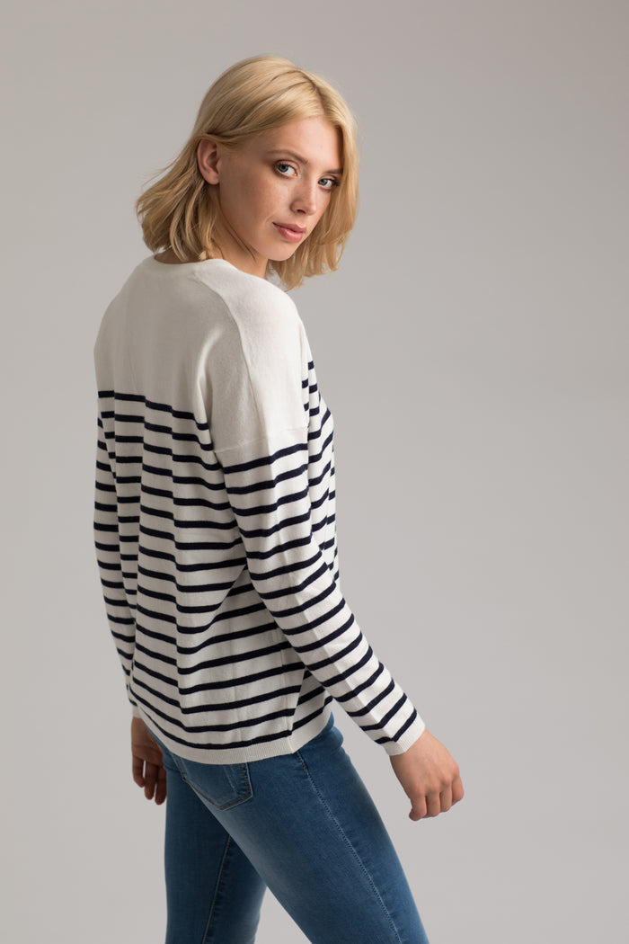 Bridget Breton Striped V-Neck Jumper