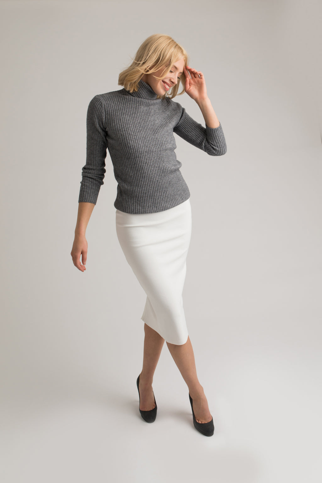 Cara Grey Roll Neck Knit