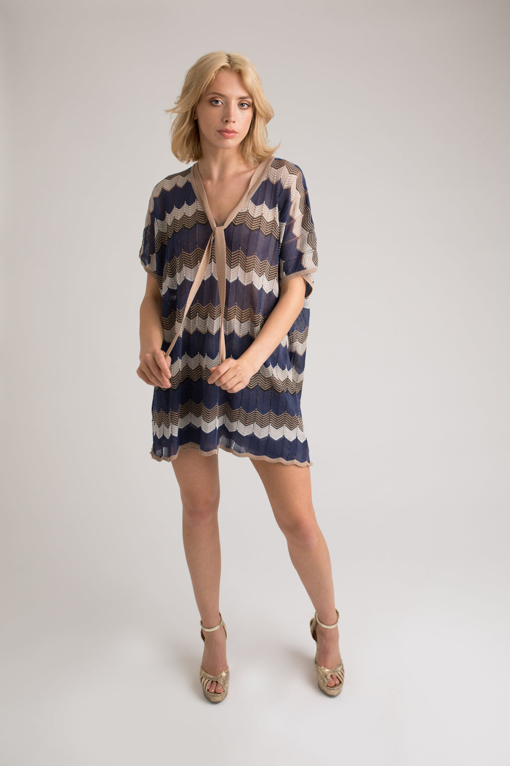 Kira Kaftan and Shorts Set in Blue/Gold