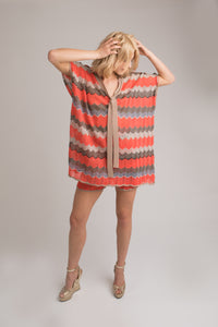 Kira Kaftan and Shorts Set in Orange/Gold