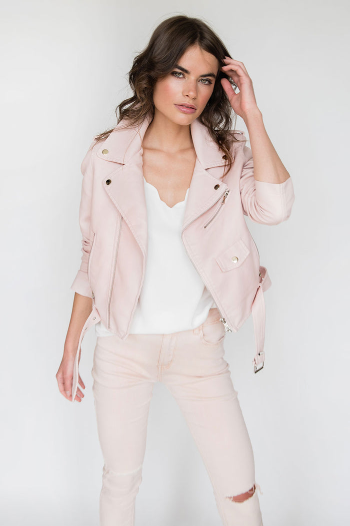 Faith Faux Leather Biker Jacket in Baby Pink