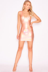 Iridescent Vinyl Underwired Mini Dress | Peach