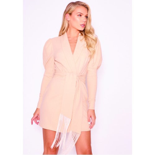 Puff Sleeve Tuxedo Dress | Nude
