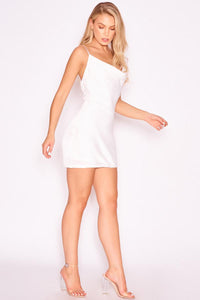Diamante Strap Cowl White Dress