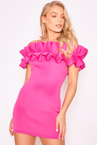 Duchess Fuschia Pink Bardot Frill Dress