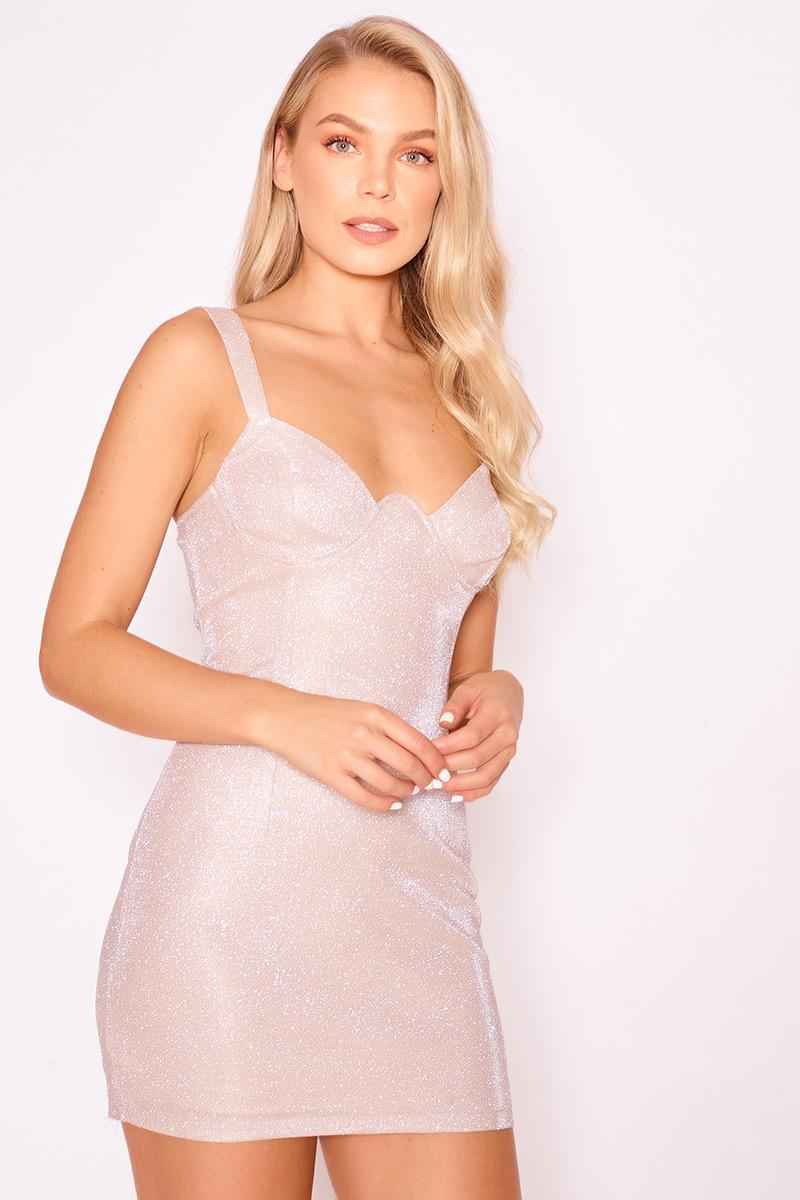 Glitter Metallic Underwired Mini Dress | Pink