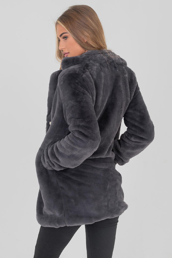 Celine Grey Faux Fur Coat