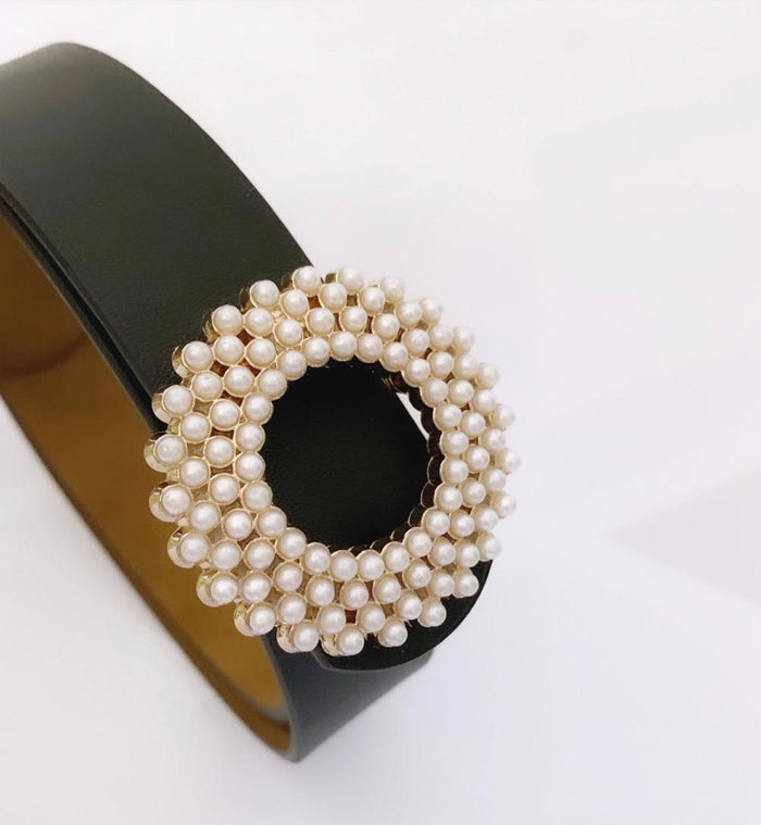 Black Leather & Pearl Belt
