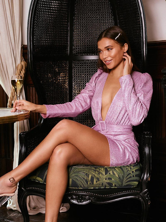 Iridescent Metallic Puff Sleeve Mini Dress | Lilac