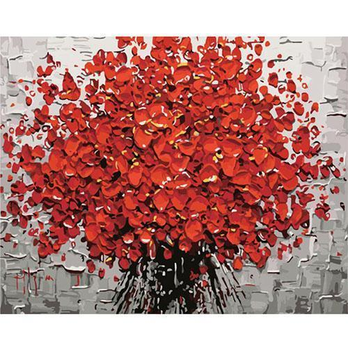 Red bouquet in 3D optics (Painting by Numbers)