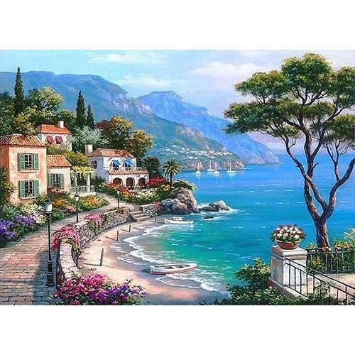Village on the Mediterranean (Painting by Numbers)