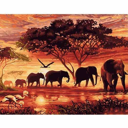 Elephants in the savannah (Painting by Numbers)