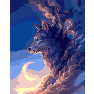 The wolf in the clouds (Painting by Numbers)